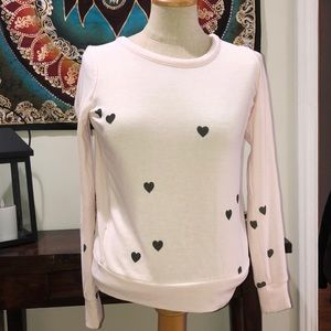 Chaser pink top with grey hearts XS